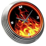 On The Edge Marketing Flames 14.75'' Fire Neon Wall Clock