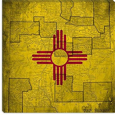 iCanvas Flags New Mexico Vintage Square Map Graphic Art on Canvas; 37'' H x 37'' W x 0.75'' D