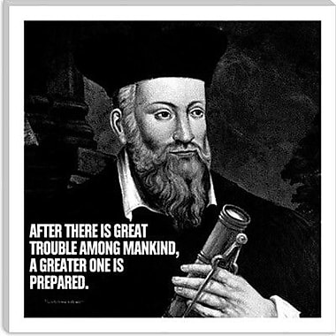 iCanvas Icons, Heroes and Legends Nostradamus Quote Graphic Art on Canvas; 18'' H x 18'' W x 1.5'' D