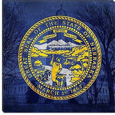 iCanvas Flags Nebraska Capitol Building Graphic Art on Canvas; 18'' H x 18'' W x 1.5'' D
