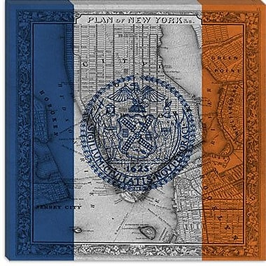 iCanvas Flags New York Vintage Map Graphic Art on Canvas; 12'' H x 12'' W x 0.75'' D