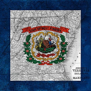 iCanvas Flags West Virginia Map Graphic Art on Wrapped Canvas; 26'' H x 26'' W x 1.5'' D