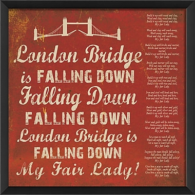 The Artwork Factory London Bridge Framed Textual Art; Red