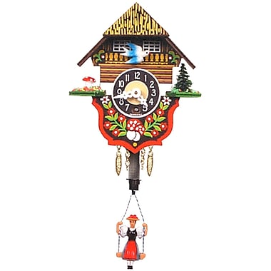 Black Forest Swinging Girl Chalet Carved Wall Clock