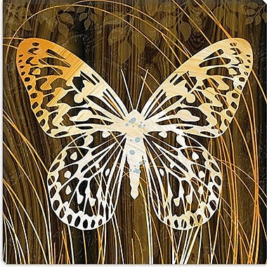iCanvas ''Butterflies & Leaves'' by Erin Clark Graphic Art on Canvas; 12'' H x 12'' W x 0.75'' D