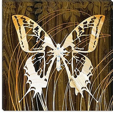 iCanvas ''Butterflies & Leaves I'' by Erin Clark Graphic Art on Canvas; 12'' H x 12'' W x 0.75'' D