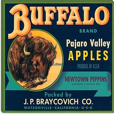 iCanvas Buffalo Brand Apples Crate Label Vintage Advertisement on Canvas; 12'' H x 12'' W x 1.5'' D