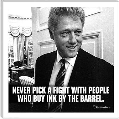 iCanvas Icons, Heroes and Legends Bill Clinton Quote Photographic Print on Canvas