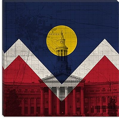 iCanvas Denver Flag, City Hall w/ Map Graphic Art on Canvas; 26'' H x 26'' W x 1.5'' D