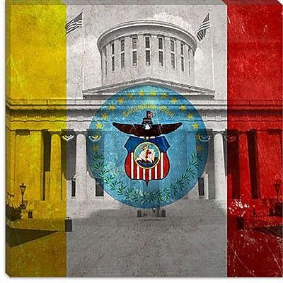 iCanvas Columbus Flag, Ohio Statehouse Graphic Art on Canvas; 37'' H x 37'' W x 1.5'' D
