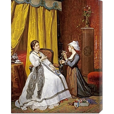 Global Gallery 'Flowers for the Lady' by Auguste De Pinelli Painting Print on Wrapped Canvas