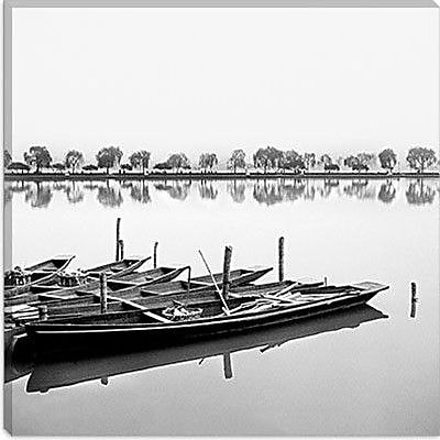 iCanvas ''Boats in Lake'' by Harold Silverman Painting Print on Canvas; 12'' H x 12'' W x 1.5'' D
