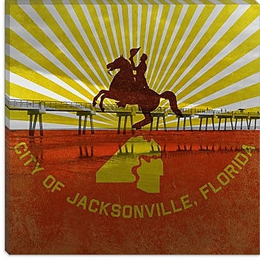 iCanvas Jacksonville Flag, Jacksonville Beach Graphic Art on Canvas; 12'' H x 12'' W x 1.5'' D