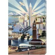 Global Gallery 'Modern Deco Empire' by Retro Travel Painting Print on Wrapped Canvas