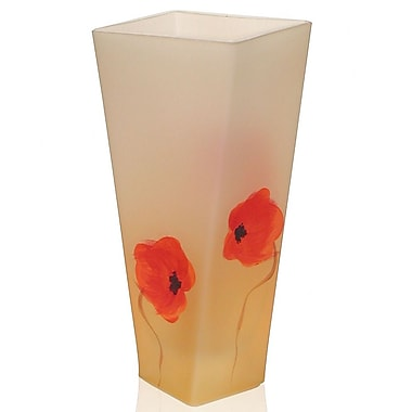 Womar Glass Hand Painted Glass Poppy Flower Series Vase; 12'' H x 7'' W x 4'' D