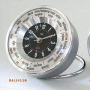 Bai Design Auto-Align World Trotter Travel Alarm Clock; Silver/Black