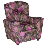 Brazil Furniture Home Theater Children's Cotton Recliner w/ Cup Holder; True West Pink