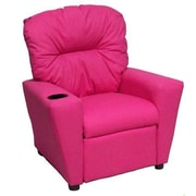 Brazil Furniture Home Theater Children's Cotton Recliner w/ Cup Holder; Dixie Pink