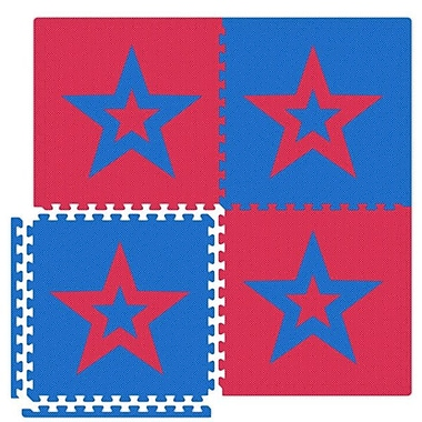 Alessco Economy SoftFloors Star Set in Red / Royal Blue; 20' x 50'