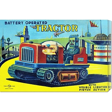 Global Gallery 'Battery Operated Tractor' by Retrotrans Vintage Advertisement on Wrapped Canvas