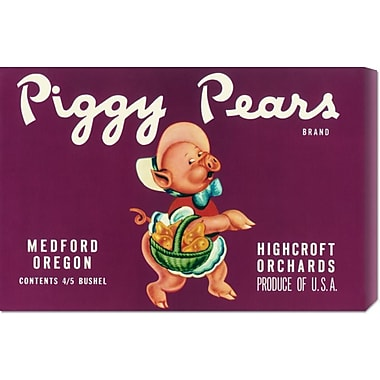 Global Gallery 'Piggy Pears Crate Label' by Retrolabel Vintage Advertisement on Wrapped Canvas