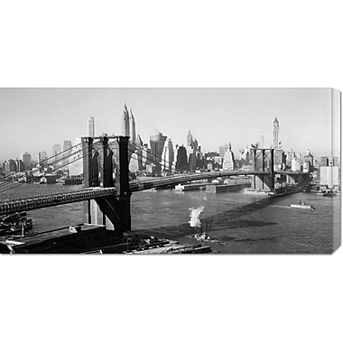 Global Gallery 'Brooklyn Bridge w/ Manhattan skyline, 1930s' Photographic Print on Wrapped Canvas