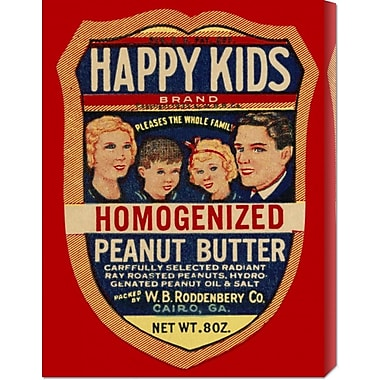 'Happy Kids Homogenized Peanut Butter' by Retrolabel Vintage Advertisement on Wrapped Canvas