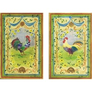 Stupell Industries Rainbow Roosters 2 Piece Kitchen Painting Print Wall Plaque Set