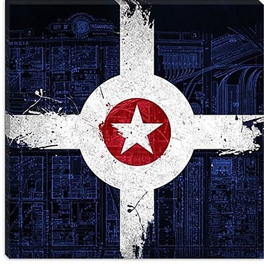 iCanvas Indianapolis Flag, Map w/ Grunge Graphic Art on Canvas; 26'' H x 26'' W x 0.75'' D