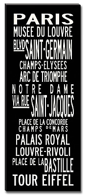 Uptown Artworks Paris by Uptown Artworks Framed Textual Art on Wrapped Canvas; 60'' H x 24'' W