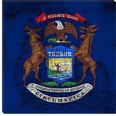 iCanvas Michigan Flag, Square Grunge Vintage Map Graphic Art on Canvas; 26'' H x 26'' W x 1.5'' D