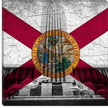 iCanvas Florida Flag, Capital Grunge Cracks Graphic Art on Canvas; 12'' H x 12'' W x 1.5'' D