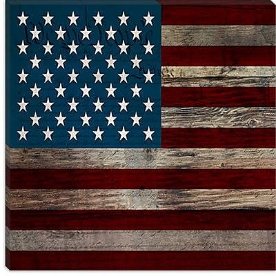 iCanvas Flags U.S.A. - Wood Board Graphic Art on Wrapped Canvas; 18'' H x 18'' W x 1.5'' D