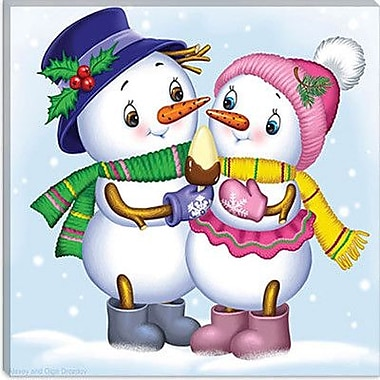 iCanvas ''Two Snowmen'' by Olga and Aleksey Drozdov Graphic Art on Wrapped Canvas
