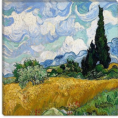 iCanvas ''Wheatfield w/ Cypresses'' by Vincent Van Gogh Painting Print on Wrapped Canvas