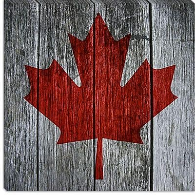 iCanvas Canada Flag Maple Leaf Graphic Art on Canvas; 37'' H x 37'' W x 1.5'' D
