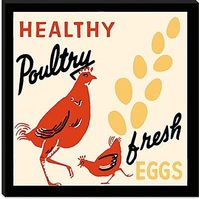 iCanvas Healthy Poultry-Fresh Eggs Vintage Advertisement on Canvas; 18'' H x 18'' W x 1.5'' D