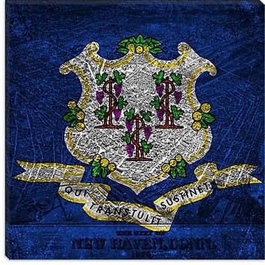 iCanvas Connecticut Flag, New Haven Map Painting Print on Canvas; 26'' H x 26'' W x 0.75'' D