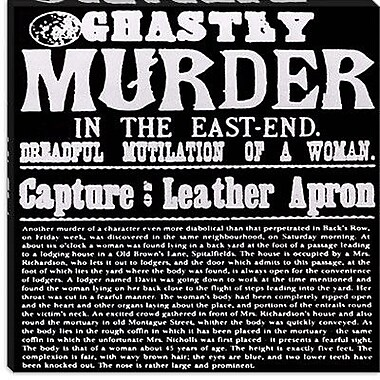 iCanvas Weapons of Destruction Ghastly Murder in the East-End Textual Art on Canvas