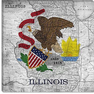 iCanvas Illinois Flag, Map Graphic Art on Canvas; 26'' H x 26'' W x 1.5'' D