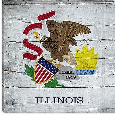iCanvas Illinois Flag Graphic Art on Canvas; 18'' H x 18'' W x 0.75'' D