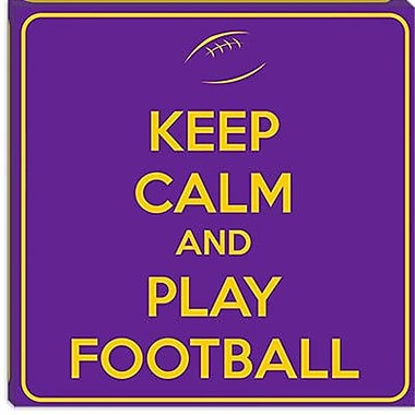 iCanvas Keep Calm and Play Football Textual Art on Canvas; 12'' H x 12'' W x 0.75'' D