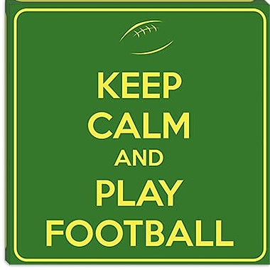 iCanvas Keep Calm and Play Football II Textual Art on Canvas; 12'' H x 12'' W x 1.5'' D