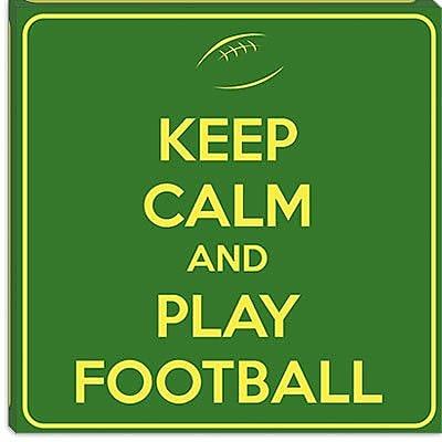iCanvas Keep Calm and Play Football II Textual Art on Canvas; 12'' H x 12'' W x 0.75'' D