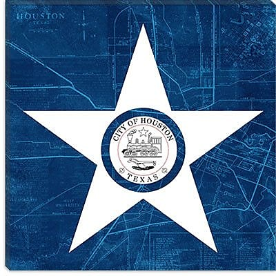 iCanvas Houston Flag, Map Graphic Art on Canvas; 12'' H x 12'' W x 1.5'' D