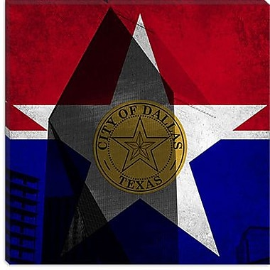iCanvas Dallas, Texas Flag - Grunge Fountain Place Graphic Art on Canvas; 26'' H x 26'' W x 1.5'' D