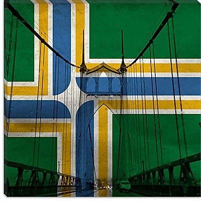 iCanvas Portland Flag, St. Johns Bridge Graphics Art on Canvas; 26'' H x 26'' W x 1.5'' D