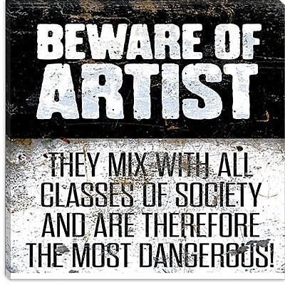 iCanvas Modern Beware Textual Art on Canvas; 12'' H x 12'' W x 1.5'' D