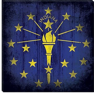 iCanvas Indiana Flag w/ Grunge Graphic Art on Canvas; 18'' H x 18'' W x 1.5'' D