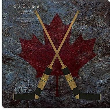 iCanvas Canada Hockey Sticks #4 Graphic Art on Canvas; 18'' H x 18'' W x 1.5'' D